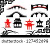 Collection of Asian Bridges - stock vector