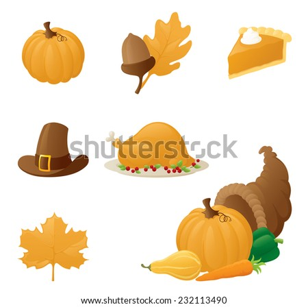 Collection of autumn and thanksgiving icons. - stock vector