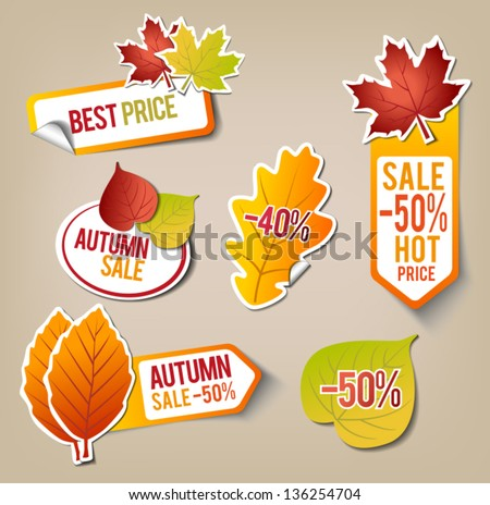 Collection of Autumn Sale Stickers - stock vector