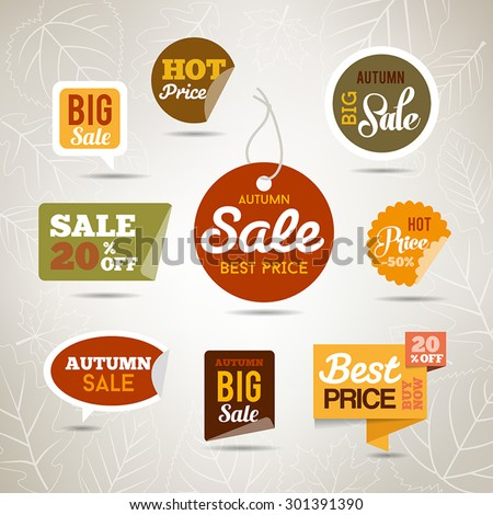 Collection of autumn sales stickers - badges with leaves and trees. Can be used fr web or print. - stock vector