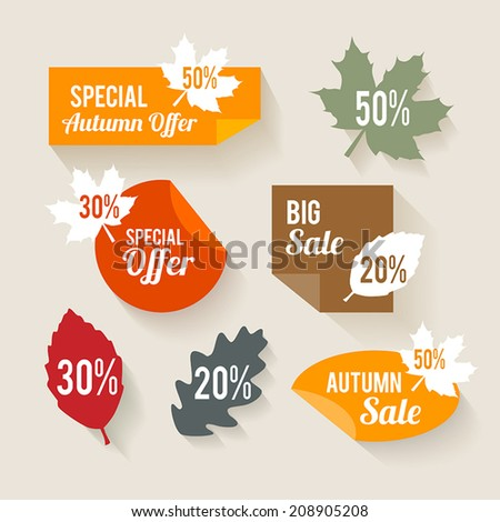 Collection of autumn sales stickers in flat design style - stock vector