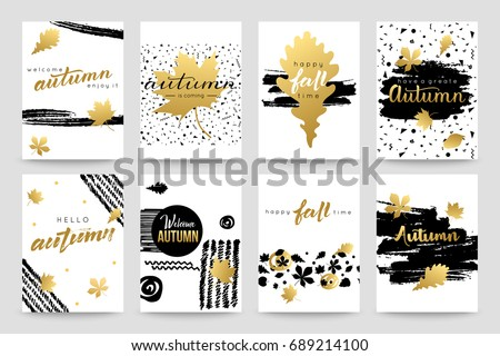 Collection of autumn watercolor hand lettering typography flyer template. Autumn fall leaves vector illustration.