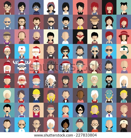 Collection of avatars3  ( 81 Man and woman Characters ) - stock vector
