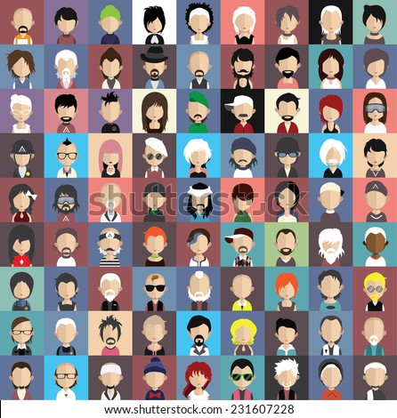 Collection of avatars5  ( 81 Man and woman Characters ) - stock vector