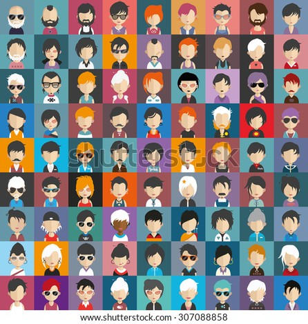 Collection of avatars21 ( 81 Man and woman Characters ) - stock vector