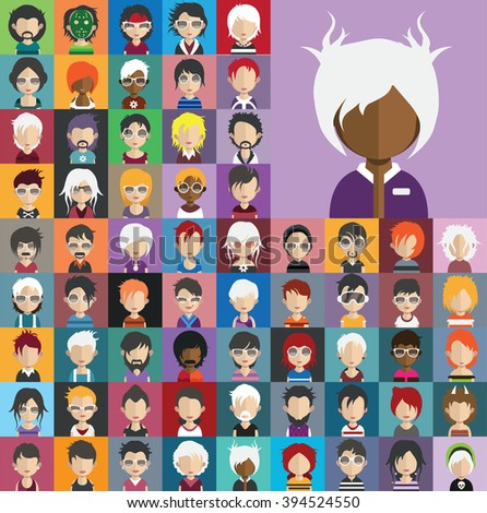 Collection of avatars28 ( 65 Man and woman Characters ) - stock vector