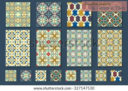 Collection of 8 Azulejo ceramic tiles and 8 patterns