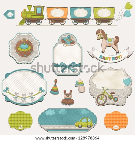 Collection of baby boys symbols, toys and labels with an empty seat for your text. - stock vector
