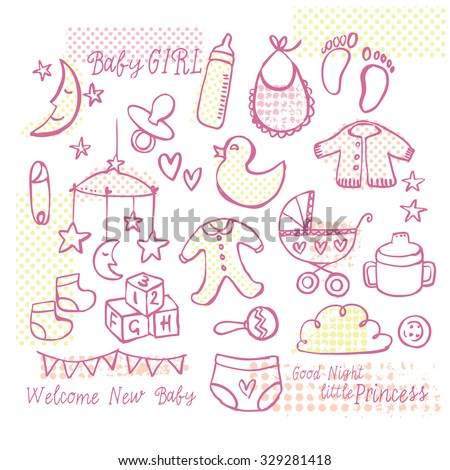 Collection of Baby girl doodle vector set - stock vector