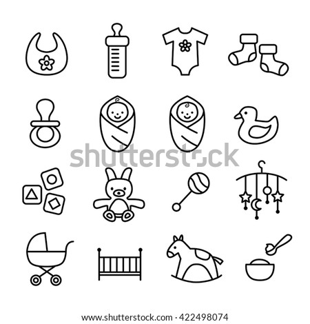 Collection of baby icons - kids, toys, accessories. Modern, thin lines design style. - stock vector