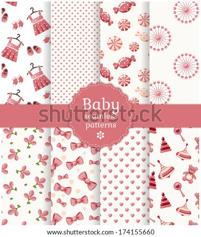 Collection of baby seamless patterns in delicate white and  pink colors. Vector illustration. - stock vector