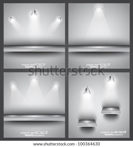 Collection of 4 backgrounds: shop front shelves with LED spotlights. Ideal to feature a product! - stock vector