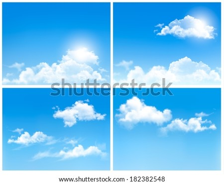 Collection of backgrounds with blue sky and clouds. Vector backgrounds.  - stock vector