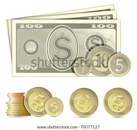Collection of banknotes and coins - stock vector