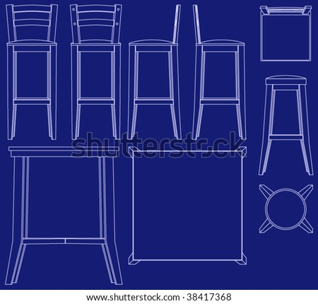 Set vector bedroom furniture multiple views vectores en stock collection of bar furniture in blueprint vector style malvernweather Choice Image