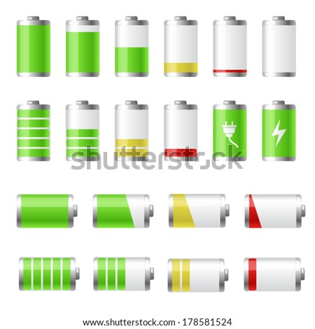Collection of battery charge level indicators - stock vector