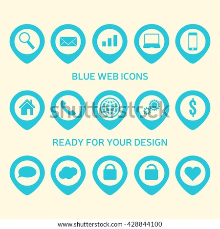 Collection of beautiful blue icons. Web icons element. Web icons art. Web icons app. Web icon. Search icon. Smartphone icon. House icon. Heart icon. Vector illustration, eps 10 - stock vector