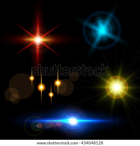 Collection of beautiful bright lens flares. Lighting effects of flash. Easy to use. - stock vector
