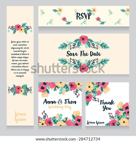 collection of beautiful floral wedding cards, vector illustration - stock vector