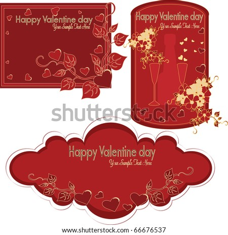 Collection of beautiful labels by the Valentine's day a vector