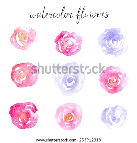 Collection of Beautiful Pink and Lilac Watercolor Roses - stock vector