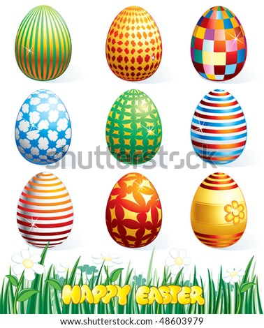 Collection of beauty easter eggs.Vector clip art - stock vector