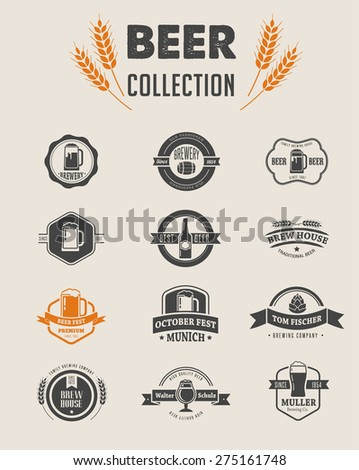 Collection of beer icons, symbols and elements - stock vector
