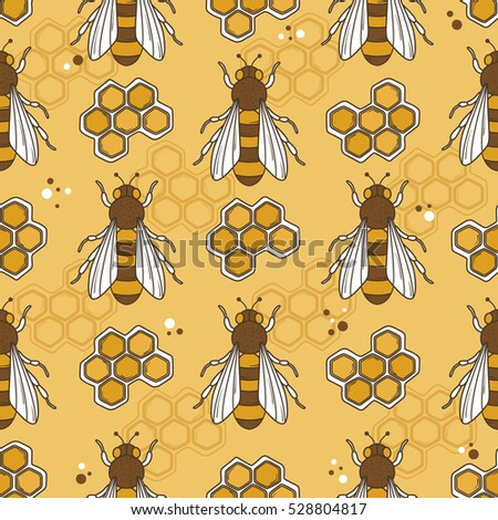 Collection Of Bees And Honeycombs Hand Drawn Seamless Pattern Colorful Backdrop With Insects