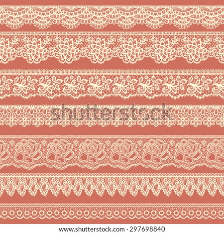 Collection of beige borders stylized like laces - stock vector