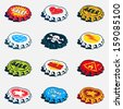 Collection of bended bottle caps with different labels. Vector graphics set. - stock vector