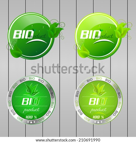 Collection of Bio product buttons with water drops and green leaves/vector illustration - stock vector