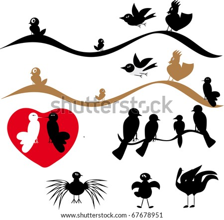 Collection of birds. Illustration. - stock vector