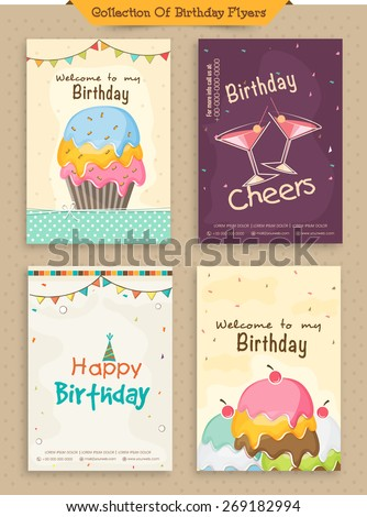 Collection of Birthday Invitations Cards decorated with colorful cakes and buntings. - stock vector