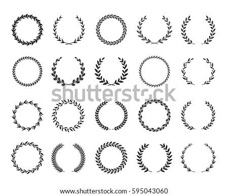 A S Design collection black white circular laurel wreaths stock vector