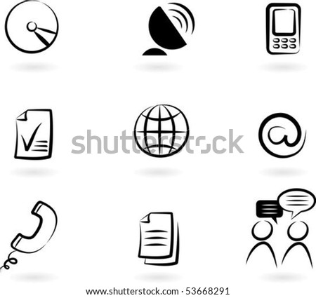 Collection of black and white communication icons -  2 - stock vector