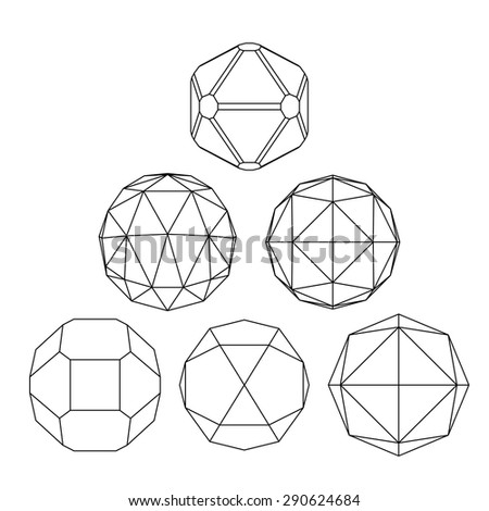 Collection of 6 black and white complex dimensional spheres and abstract geometric figures. Set of fractal 3D monochrome symbolic objects. Structural vector symbols. - stock vector