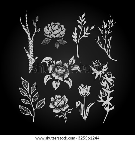 Collection of black and white flowers and plants in handdrawn style. Vector illustration. - stock vector