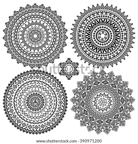 Collection of black and white geometric round ethnic decorative elements. Vector mandala backgrounds with bohemian, Oriental, Indian, Arabic, Aztec motifs. - stock vector