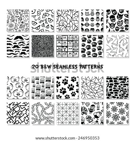 Collection of black and white seamless patterns.