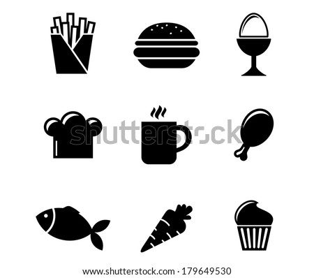 Collection of black and white silhouette food icons including French fries, boiled egg, toque, cookie, coffee, drumstick, fish, carrot and cupcake - stock vector