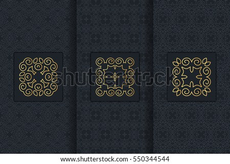 Collection of black backgrounds and golden calligraphic elements. Set of labels, icons, logos in islamic, oriental, eastern style.Templates with luxury foil for packaging