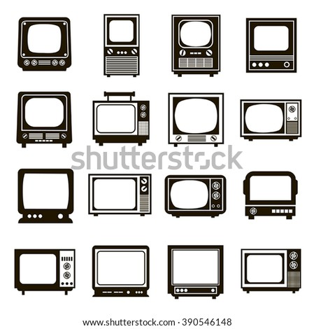 Collection of 16 black icons Retro TV on a white background - stock vector