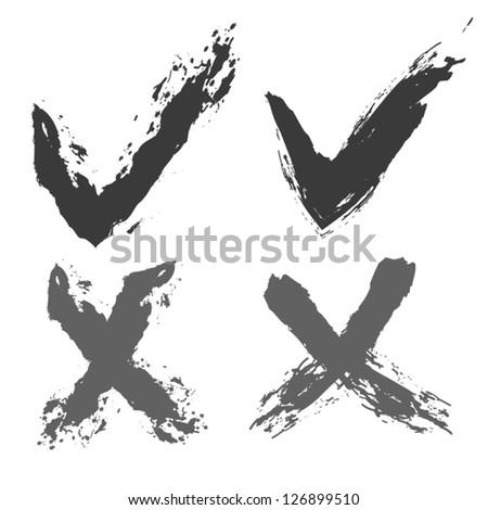 ... set of brush strokes. Isolated on white background. Grunge ticks