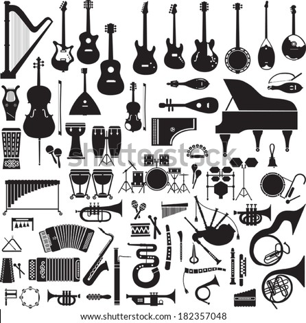 Collection of 60 black silhouettes of musical instruments on a white background - stock vector