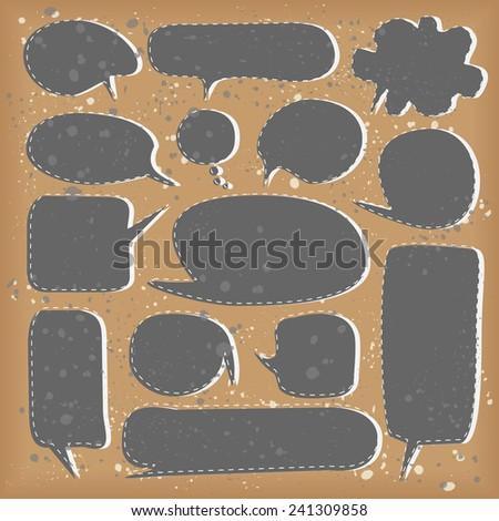 Collection of black speech bubbles - stock vector