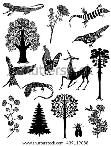 Collection of black tattoos. The flora and fauna. Vector lizards, trees, rooster, antelope, flowers and the fly. - stock vector
