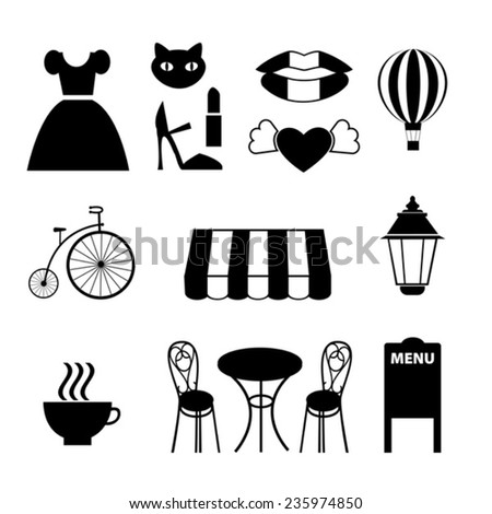 collection of  black vector french icons - stock vector