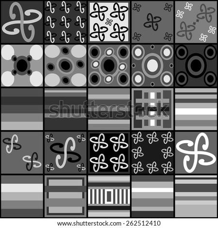 Collection of black white gray tiles - stock vector