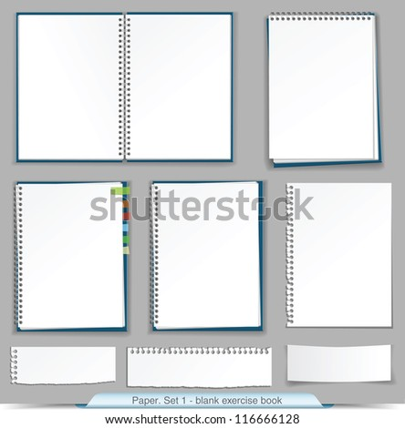 collection of blank exercise book - stock vector