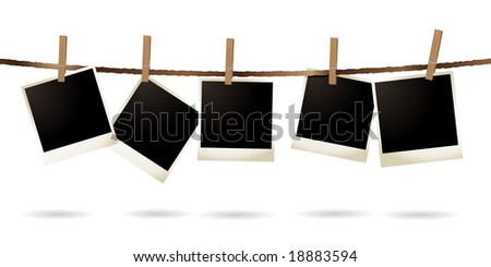 Collection of blank images hanging on a piece of string - stock vector